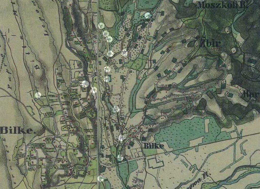 Белки. Водяные мельницы. Карта 19 века.